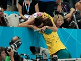 Emily Seebohm celebrates with her mom in the stands after she Seebohm received her silver medal during the medal ceremony for the Women's 100m Backstroke on Day 3 of the London 2012 Olympic Games at the Aquatics Centre on July 30, 2012 in London, England.
