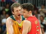 LONDON, ENGLAND - JULY 31:  Joe Ingles of Australia interacts with Rudy Fernandez of Spain in the Men's Basketball Preliminary Round match between Australia and Spain on Day 4 of the London 2012 Olympic Games at Basketball Arena on July 31, 2012 in London, England.