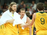 David Barlow #10 of Australia and team mate Matt Dellavedova celebrate in the first quarter in the Men's Basketball Preliminary Round match between Australia and Spain on Day 4 of the London 2012 Olympic Games at Basketball Arena on July 31, 2012 in London, England.