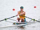 Kim Crow of Australia competes in the Women's Single Sculls on Day 4 of the London 2012 Olympic Games at Eton Dorney at Eton Dorney on July 31, 2012 in Windsor, England.