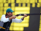 JULY 31:  Clive Barton of Australia during the Men's Skeet Shooting qualification round on Day 4 of the London 2012 Olympic Games at The Royal Artillery Barracks on July 31, 2012 in London, England.