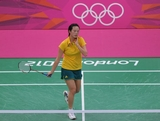 Victoria Na of Australia competes in her Women's Singles Badminton match against Juan Gu of Singapore on Day 4 of the London 2012 Olympic Games at Wembley Arena on July 31, 2012 in London, England.