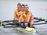 Anthony Edwards, Samuel Beltz, Benjamin Cureton and Todd Skipworth of Australia compete in the Lightweight Men's Four semifinals on Day 4 of the London 2012 Olympic Games at Eton Dorney at Eton Dorney on July 31, 2012 in Windsor, England.