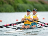 David Crawshay and Scott Brennan of Australia compete in the Men's Double Sculls semifinals on Day 4 of the London 2012 Olympic Games at Eton Dorney at Eton Dorney on July 31, 2012 in Windsor, England.