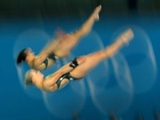 Rachel Bugg (foreground) and Loudy Wiggins of Australia compete in the Women's Synchronised 10m Platform Diving on Day 4 of the London 2012 Olympic Games at the Aquatics Centre on July 31, 2012 in London, England.