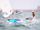 WEYMOUTH, ENGLAND - JULY 31:  Tom Slingsby of Australia competes in the Men's Laser Sailing on Day 4 of the London 2012 Olympic Games at Weymouth Harbour on July 31, 2012 in Weymouth, England.