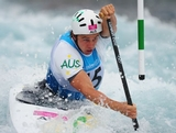 Kynan Maley of Australia competes in the Men's Canoe Single (C1) Slalom final on Day 4 of the London 2012 Olympic Games at Lee Valley White Water Centre on July 31, 2012 in London, England.