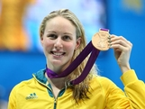 Bronze medallist  Bronte Barratt of Australia poses on the podium during the medal ceremony for the Women's 200m Freestyle final on Day 4 of the London 2012 Olympic Games at the Aquatics Centre on July 31, 2012 in London, England.