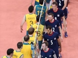 Australia and Great Britain line up to shake hands after the match during Men's Volleyball on Day 4 of the London 2012 Olympic Games at Earls Court on July 31, 2012 in London, England.