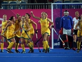 Fiona Boyce of Australia (C) celebrates with team-mates after scoring their third goal during the Women's Hockey Match between Germany and Australia on day 4 of the London 2012 Olympic Games at Riverbank Arena on July 31, 2012 in London, England.