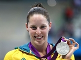 Silver medallist Alicia Coutts of Australia poses following the medal ceremony in the Women's 200m Individual Medley final on Day 4 of the London 2012 Olympic Games at the Aquatics Centre on July 31, 2012 in London, England.