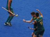 LONDON, ENGLAND - AUGUST 1:  Edward Ockenden of Australia celebrates after his goal during the Men's preliminary Hockey match on Day 5 of the London 2012 Olympic Games at Riverbank Arena on August 1, 2012 in London, England.