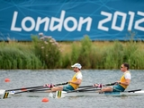 (R-L) Roderick Chisholm and Thomas Gibson of Australia compete during the Men's Double Sculls semi final on Day 5 of the London 2012 Olympic Games at Eton Dorney on August 1, 2012 in Windsor, England.
