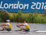 WINDSOR, ENGLAND - AUGUST 01:  (R-L) Roderick Chisholm and Thomas Gibson of Australia compete during the Men's Double Sculls semi final on Day 5 of the London 2012 Olympic Games at Eton Dorney on August 1, 2012 in Windsor, England.