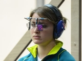 LONDON, ENGLAND - AUGUST 01:  Hayley Chapman of Australia competes in the Women's 25m Pistol Shooting qualification on Day 5 of the London 2012 Olympic Games at The Royal Artillery Barracks on August 1, 2012 in London, England.