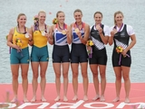 Gold medallists (L-R) Helen Glover and Heather Stanning of Great Britain celebrate on the podium with silver medallists (L-R) Sarah Tait and Kate Hornsey of Australia and bronze medallists (L-R) Rebecca Scown and Juliette Haigh of New Zealand after competing in the Women's Pair Final A during the Men's Single Sculls on Day 5 of the London 2012 Olympic Games at Eton Dorney on August 1, 2012 in Windsor, England.