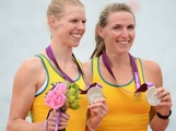 Silver medallists Sarah Tait and Kate Hornsey of Australia celebrate with their medals after competing in the Women's Pair Final A during the Men's Single Sculls on Day 5 of the London 2012 Olympic Games at Eton Dorney on August 1, 2012 in Windsor, England.