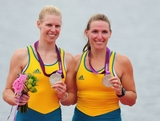 Silver medallists Sarah Tait and Kate Hornsey of Australia celebrate with their medals after competing in the Women's Pair Final A on Day 5 of the London 2012 Olympic Games at Eton Dorney on August 1, 2012 in Windsor, England.