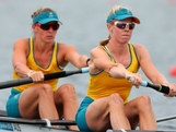 (L-R) Kate Hornsey and Sarah Tait of Australia compete in the Women's Pair Final A on Day 5 of the London 2012 Olympic Games at Eton Dorney on August 1, 2012 in Windsor, England.