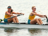 Kate Hornsey and Sarah Tait of Australia celebrate in their boat with their medlas after winning silver in the Women's Pair Final A on Day 5 of the London 2012 Olympic Games at Eton Dorney on August 1, 2012 in Windsor, England.