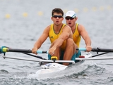 James Marburg  and Brodie Buckland of Australia compete in the Men's Pair semi final during the Men's Single Sculls on Day 5 of the London 2012 Olympic Games at Eton Dorney on August 1, 2012 in Windsor, England.