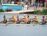 John Storey, Michael Arms, Matthew Trott and Robert Manson of New Zealand (front) and Christopher Morgan, Karsten Forsterling, James Mcrae and Daniel Noonan of Australia react after the Men's Quadruple Sculls on at Eton Dorney on August 1, 2012 in Windsor, England.