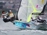 Nathan Outteridge (R) and Iain Jensen of Australia compete in the Men's 49er Sailing on Day 5 of the London 2012 Olympic Games at the Weymouth & Portland Venue at Weymouth Harbour on August 1, 2012 in Weymouth, England.