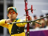 Taylor Worth of Australia competes in his Men's Individual Archery 1/16 Eliminations match against Brady Ellison of United States during the Men's Individual Archery on Day 5 of the London 2012 Olympic Games at Lord's Cricket Ground on August 1, 2012 in London, England.