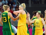 Lauren Jackson #15 of Australia greets Nadia Colhado #13 of Brazil following the Women's Basketball Preliminary Round match on Day 5 of the London 2012 Olympic Games at Basketball Arena on August 1, 2012 in London, England.