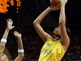 Liz Cambage #14 of Australia puts up a shot against Brazil during the Women's Basketball Preliminary Round match on Day 5 of the London 2012 Olympic Games at Basketball Arena on August 1, 2012 in London, England.