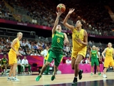 Karla Costa #5 of Brazil lays up a shot past Liz Cambage #14 of Australia during the Women's Basketball Preliminary Round match on Day 5 of the London 2012 Olympic Games at Basketball Arena on August 1, 2012 in London, England.