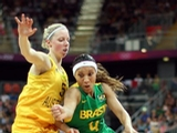 Adriana Pinto #4 of Brazil handles the ball under pressure form Samantha Richards #5 of Australia during the Women's Basketball Preliminary Round match on Day 5 of the London 2012 Olympic Games at Basketball Arena on August 1, 2012 in London, England.