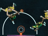 Suzy Batkovic #8 of Australia contests a rebound with Clarissa Santos #11 of Brazil during the Women's Basketball Preliminary Round match on Day 5 of the London 2012 Olympic Games at Basketball Arena on August 1, 2012 in London, England.
