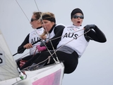 (R-L) Olivia Price, Nina Curtis and Lucinda Whitty of Australia compete in the Women's Elliott 6m WMR Sailing on Day 5 of the London 2012 Olympic Games at the Weymouth & Portland Venue at Weymouth Harbour on August 1, 2012 in Weymouth, England.