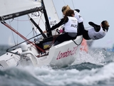 (L-R) Olivia Price, Nina Curtis and Lucinda Whitty of Australia compete in the Women's Elliott 6m WMR Sailing on Day 5 of the London 2012 Olympic Games at the Weymouth & Portland Venue at Weymouth Harbour on August 1, 2012 in Weymouth, England.