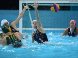 Chloe Wilcox #2 of Great Britain attempts to block a shot in the Women's Preliminary Round Water Polo match between Great Britain and Australia on Day 5 of the London 2012 Olympics at Water Polo Arena on August 1, 2012 in London, England.