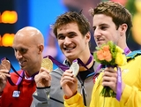 (L-R)  Bronze medalist Brent Hayden of Canada, gold medalist Nathan Adrian of the United States and silver medalist James Magnussen of Australia pose with their medals  during the medal cermony for the Men's 100m Freestyle on Day 5 of the London 2012 Olympic Games at the Aquatics Centre on August 1, 2012 in London, England.