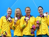 (L-R) Bronte Barratt, Melanie Schlanger, Kylie Palmer and Alicia Coutts of Australia pose with their msilver edals on the podium during the medal ceremony for the Women's 4x200m Freestyle Relay on Day 5 of the London 2012 Olympic Games at the Aquatics Centre on August 1, 2012 in London, England.