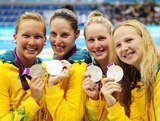 (L-R) Kylie Palmer, Alicia Coutts, Bronte Barratt and Melanie Schlanger of Australia pose with their silver medals following the medal ceremony for the Women's 4x200m Freestyle Relay on Day 5 of the London 2012 Olympic Games at the Aquatics Centre on August 1, 2012 in London, England.