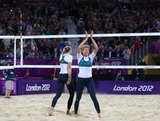 Nat Cook of Australia thanks the crowd after the Women's Beach Volleyball Preliminary match between Australia and Czech Republic on Day 5 of the London 2012 Olympic Games at Horse Guards Parade on August 1, 2012 in London, England.