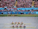 Australia and Great Britain battle for first during the Men's Four semi-final on Day 6 of the London 2012 Olympic Games at Eton Dorney on August 2, 2012 in Windsor, England.