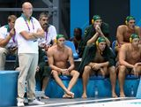 The Australia team look on during the Men's Preliminary Round match between Spain and Australia on Day 6 of the London 2012 Olympics at the Water Polo Arena on August 2, 2012 in London, England.