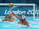 Spain Captain Guillermo Molina Rios takes a shot on goal during the Men's Preliminary Round match between Spain and Australia on Day 6 of the London 2012 Olympic Games at the Water Polo Arena on August 2, 2012 in London, England.
