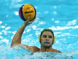 Richie Campbell of Australia in action during the Men's Preliminary Round match between Spain and Australia on Day 6 of the London 2012 Olympic Games at the Water Polo Arena on August 2, 2012 in London, England.