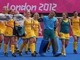 The Australia players celebrate at the end of the Women's Hockey preliminary match between Australia and United States on Day 6 of the London 2012 Olympic Games at Riverbank Arena on August 2, 2012 in London, England.