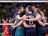 Australia celebrates after scoring in the second set against Bulgaria during Men's Volleyball on Day 6 of the London 2012 Olympic Games at Earls Court on August 2, 2012 in London, England.