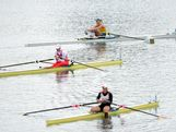 (Top) Kim Crow of Australia, Julia Levina of Russia and Marie-Louise Draeger of Germany compete in the Women's Single Sculls semifinals on Day 6 of the London 2012 Olympic Games at Eton Dorney on August 2, 2012 in Windsor, England.