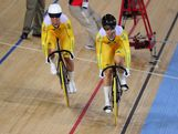 Kaarle Mcculloch (L) and Anna Meares of Australia leave the starting blocks during Women's Sprint Track Cycling Qualifying on Day 6 of the London 2012 Olympic Games at Velodrome on August 2, 2012 in London, England.