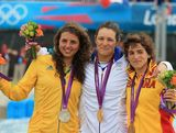 (L-R) Silver medalist Jessica Fox of Australia, gold medalist Emile Fer of France and bronze medalist Maialen Chourraut of Spain celebrate following the Women's Kayak Single (K1) Slalom on Day 6 of the London 2012 Olympic Games at Lee Valley White Water Centre on August 2, 2012 in London, England.