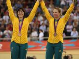 LONDON, ENGLAND - AUGUST 02:  Bronze medalists Anna Meares and Kaarle Mcculloch of Australia pose with their medals during the medal ceremony for the Women's Team Sprint Track Cycling on Day 6 of the London 2012 Olympic Games at Velodrome on August 2, 2012 in London, England.